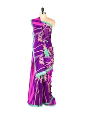 Amazing Purple Printed Art Silk Saree With Matching Blouse Piece - Saraswati