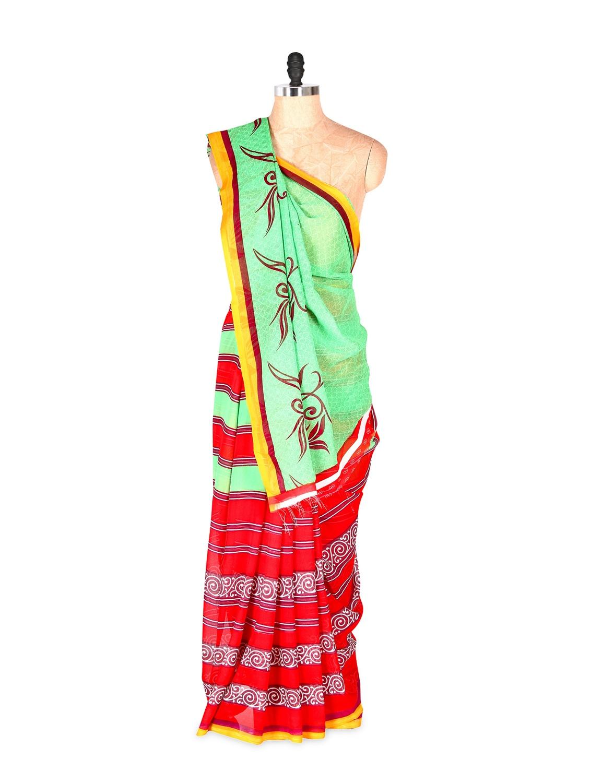 Fabulous Red And Green Printed Art Silk Saree With Matching Blouse Piece - Saraswati