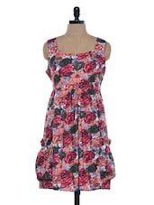 Peach Floral Printed Sleeveless Dress - Mind The Gap
