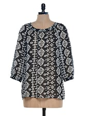 Black And Off White Printed Top - Mind The Gap
