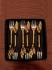 Gold Twigs And  Leaf Fork (set Of 6) - The Yellow Door