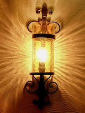 Lamp With Gold Lustre Hammered Glass - The Yellow Door