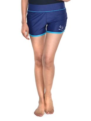 Solid navy blue and turquoise shorts