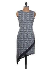 Asymmetrical Blue And Black Printed Dress - Nineteen