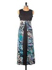 Blue And Black Printed Flowy Dress - Nineteen