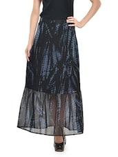 Printed Black Flare Skirt - Nineteen