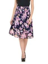 Navy Blue Floral Flare Skirt - Nineteen