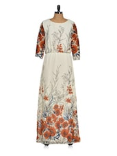 Ivory Floral Maxi Dress - Purys
