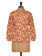 Peach Floral Polyester Top - Purys