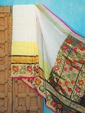 White Base Silk Saree With A Multi-coloured Border - KAASI