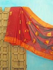 Red And Orange Benarsi Net Saree - KAASI