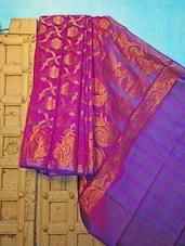 Purple And Blue Benarsi Net Saree - KAASI