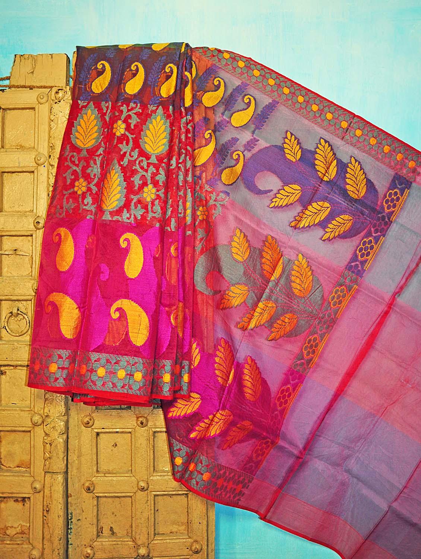 Bright Pink And Yellow Benarsi Net Saree - KAASI