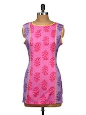 Pink And Purple Printed Cut Sleeved Kurti - Yepme