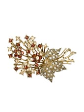 Gold And Red Flower Bunch Brooch Cum Pendant - Xpressionss