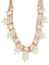 Gold And White Leaf Necklace - Xpressionss