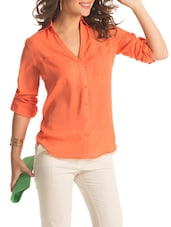 Solid Orange Roll-up Sleeved Shirt - PrettySecrets