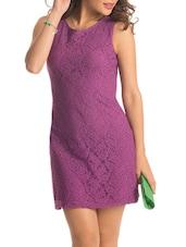 Purple Back Cut Out Lacey Dress - PrettySecrets