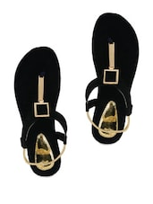 Black And Gold Flat Sandals - Grafion