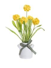 Flower Vase With Yellow Artificial Flowers - Fennel