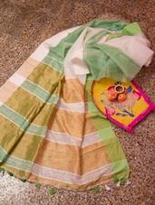 Light Green And White Small Box Weave Design Saree - Cotton Koleksi