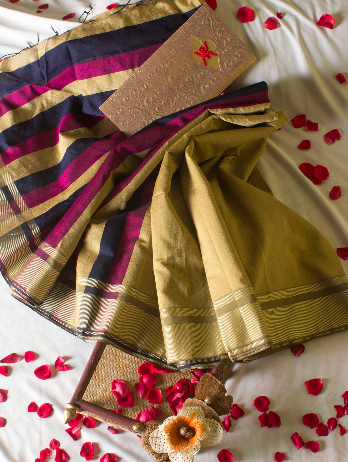 Dusty Gold Saree With Striped Aanchal - Cotton Koleksi