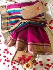 Magenta Saree With Striped Aanchal - Cotton Koleksi