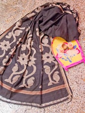 Black And Beige Saree With Gheecha Aanchal - Cotton Koleksi