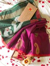 Pink And Green Half And Half Saree - Cotton Koleksi