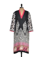 Black, White And Pink Printed Kurta - Kaccha Taanka