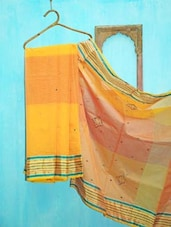 Yellow Traditional Benarsi Net Saree - KAASI