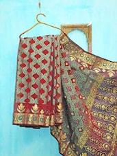 Red, Blue And Golden Traditional Benarsi Net Saree - KAASI