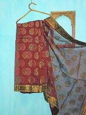 Deep Maroon And Greenish Golden Benarsi Net Saree - KAASI