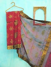 Maroon And Greenish Golden Benarsi Net Saree - KAASI