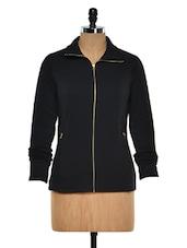 Black Zip Up Fleece Sweatshirt - Femella