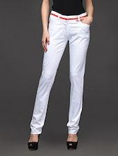 White Slim Fit Formal Trouser - Kaaryah