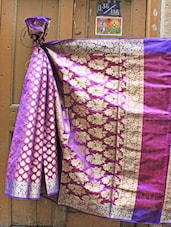 Purple And Blue Jacquard Saree - BANARASI STYLE