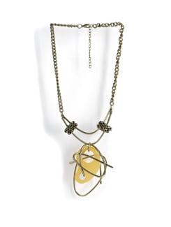 Designer Necklace With Yellow Pendant - Tribal Zone