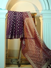 Purple Base Cotton Net Benarasi Saree - BANARASI STYLE