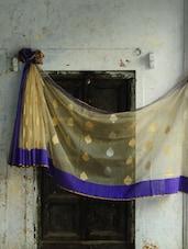 Cream And Blue Pure Net Benarasi Saree - BANARASI STYLE