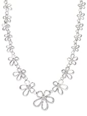 Silver Crystal Studded Floral Necklace - YOUSHINE