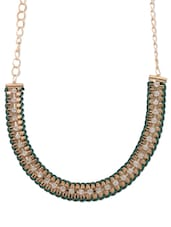 Green And Gold Crystal Embellished Necklace - YOUSHINE