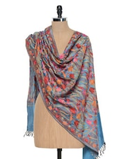 Blue Kashmiri Embroidery Stole - Inara Robes