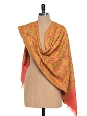 Coral Kashmiri Embroidery Stole - Inara Robes
