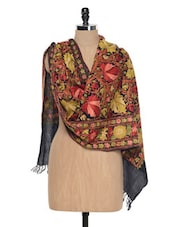 Black Kashmiri Embroidery Stole - Inara Robes