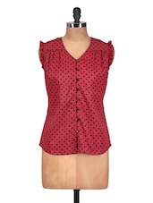 Red Polka Dotted Vintage Top - Meira