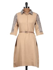 Solid Beige Dress With Animal Print Sleeves - QUEST