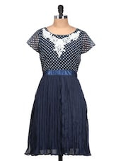 Navy Blue And White Polka Dot Dress - QUEST