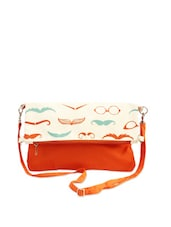 Off-White And Orange Quirky Print Sling Bag - ANGES BAGS
