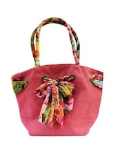 Pink Jute Bag With Fabric Tie-up - ANGES BAGS